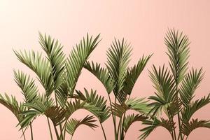 palmbladeren op een roze achtergrond in 3d illustratie foto
