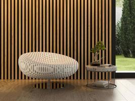 interieur van een moderne kamer met een stoel in 3D-rendering foto