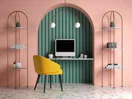 Memphis-stijl conceptueel interieur thuiskantoor in 3d illustratie foto