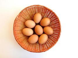 bruine eieren in een rieten mand op witte achtergrond