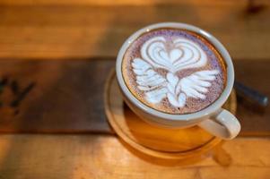 close-up van prachtige latte art