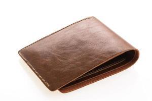 bruin lederen portemonnee op witte achtergrond