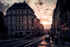 Tsjechië 2016-- uitzicht op de straat Seifertova bij zonsondergang