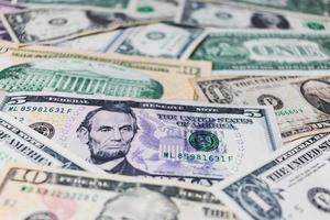 Amerikaanse dollars of Amerikaanse dollar bankbiljetten achtergrond foto