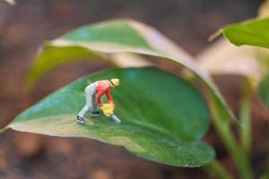 miniatuurarbeider die met een boom werkt, die het natuurconcept beschermt