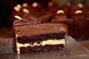 stukje chocoladetaart foto