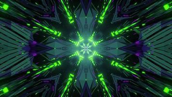 gloeiende kristallen stralen van futuristische 3d illustratie