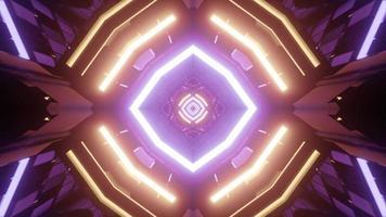 3d illustratie van moderne geometrische abstractie met neonlichten