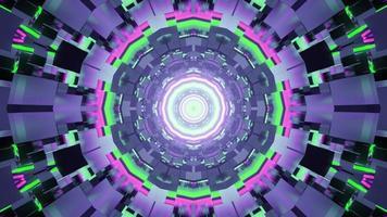 3d illustratie van veelkleurige tunnel met abstract neonpatroon