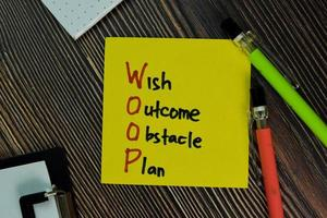 woop - wens uitkomst obstakel plan geschreven op papierwerk geïsoleerd op een houten tafel foto
