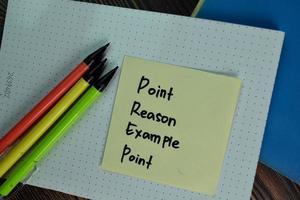 punt reden voorbeeld punt geschreven op notitie geïsoleerd op houten tafel