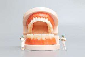 miniatuur tandarts die menselijke tanden met tandvlees en glazuur, gezondheids en medisch concept herstelt