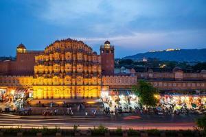 hawa mahal 's avonds, jaipur, rajasthan, india foto
