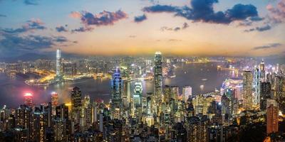 panoramisch uitzicht op de skyline van hong kong, china