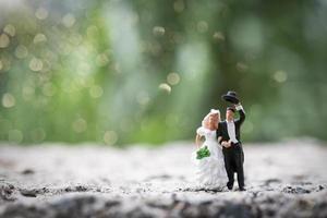 miniatuurbruid en bruidegom die zich buiten met een onscherpe aardachtergrond bevinden foto