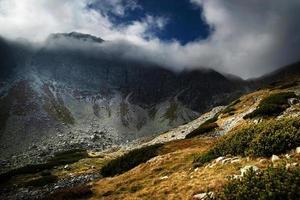 rotsachtige piek verborgen in mist