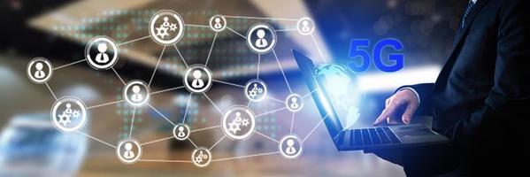bedrijfs- en technologiemarketing en sociaal verbindingsconcept foto