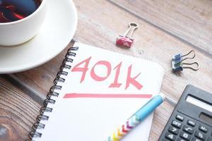 Kladblok met woord 401k