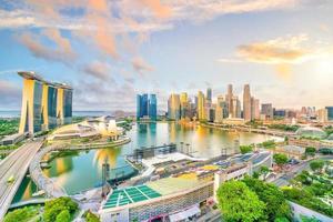 singapore skyline van de binnenstad bay area foto