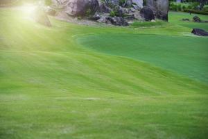 het groene gras van de natuur in de tuin van de golfbaan foto