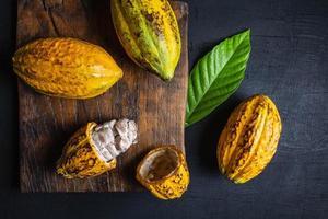 bovenaanzicht van cacao foto