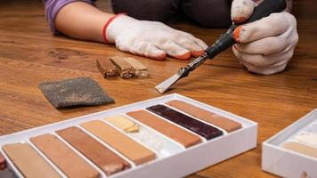 beschilderd hout schilderen foto