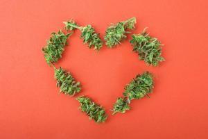 cannabis toppen in een hartvorm foto