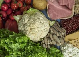 voedsel voor het planetaire dieet, kool, bloemkool, sla, champignons, tomaten, radijs, aardappelen, mager gevogelte, kaas, bonen en rijst foto
