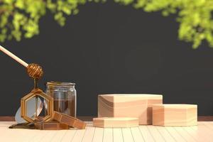 honingsstroop en de houten 3d achtergrond van de platformbanner, geeft terug foto