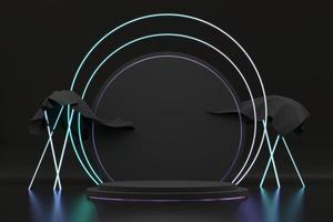 abstract zwart podiumplatform met neonlicht, sjabloon voor reclameproduct, 3D-rendering. foto