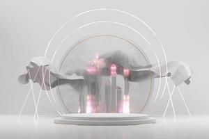 abstract wit productvertoning podiumpodium met kristal, 3D-rendering achtergrond