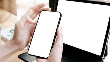 mock-up voor smartphone en tablet foto
