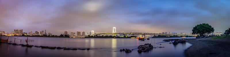 panoramisch uitzicht op de skyline van tokyo in de avond foto
