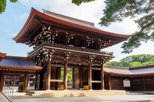 schilderachtig uitzicht bij de gateway in meji jingu of meji-heiligdomgebied in tokyo, japan. foto