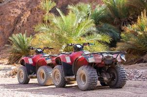 twee vierwielers in de woestijn foto