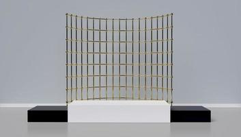 3D-weergave van podium met geometrische vormen