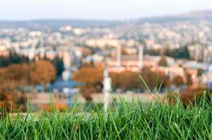 gazon met een stad op de achtergrond