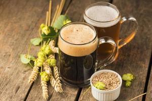 arrangement voor bierhapjes met een hoge hoek foto