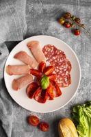 plat lag vers vlees concept foto