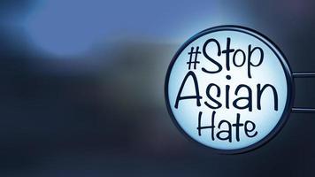hashtag-tekst met de woorden stop aziatische haat op een etiket, concept voor het oproepen van de internationale gemeenschap om te stoppen met het kwetsen en haten van Aziatische mensen 3D-rendering foto