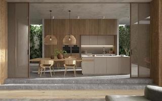 moderne elegante keuken en eetkamer foto
