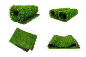 rollen plastic groen gras, vloermat voor sportvelden foto