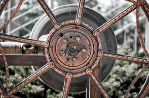 close-up van een metalen versnelling foto