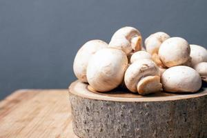 verse champignon broeikasgassen champignons op een rustieke stand op een grijze achtergrond foto