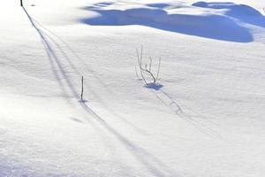 besneeuwde ondergrond in de winter met schaduwen in de avond foto