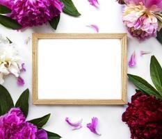 houten frame omgeven door mooie roze pioenrozen op een witte achtergrond foto