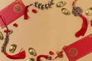 Chinees Nieuwjaar concept oranje achtergrond foto
