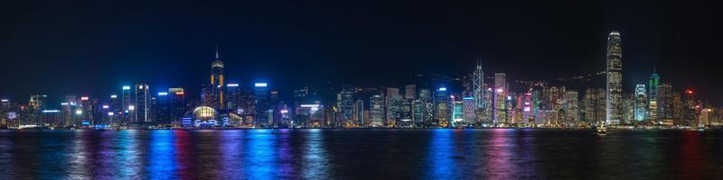 kleurrijk panoramisch uitzicht op de skyline van hong kong 's nachts