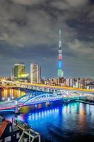 stadsgezicht van tokyo in de avond, japan foto