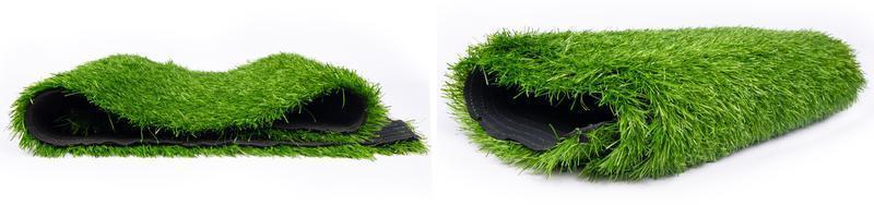 rollen plastic groen gras panorama, vloermat voor sportvelden foto